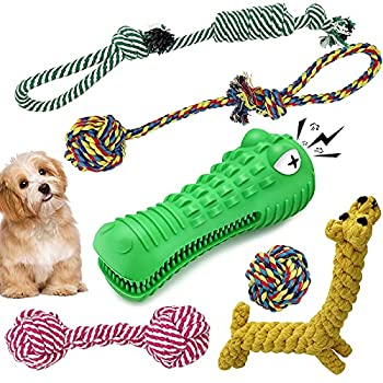 Jouet Pour Chien Ensemble Lot de 6 , 5 Durables Coton Mâcher Corde Jouet,One jouet chien indestructible en Forme de Crocodile, Jouet de Nettoyage Des Dents de Chien Pour Chien Moyen et Grand