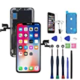 Xlhama Reemplazo de Pantalla OLED Compatible para iPhone XS Black 5.8'3D Touch con Herramientas de reparación de Hoja de Vidrio Templado