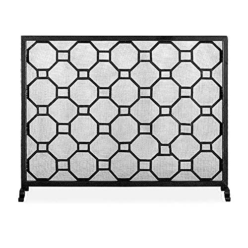 OUPAI Fireplace Screen Fireplace Screen Decorative Tall Modern Flat Cover Outdoor Protector Mesh Freestanding Iron for Outdoor Portico, Fire Pit, Fireplace Areas,