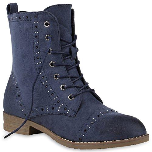 Damen Schuhe Strass Stiefeletten Leicht Gefütterte Schnürstiefeletten 147174 Dunkelblau Brooklyn 36 Flandell
