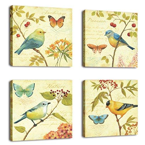 Aves y flores 4 piezas de arte de paisajes de aves estiradas y enmarcadas pinturas sobre lienzo arte de pared para sala de estar dormitorio decoración para el hogar 30x30cmx4pcs