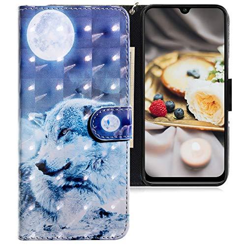 CLM-Tech Hülle kompatibel mit Xiaomi Mi A3 - Tasche aus Kunstleder - Klapphülle mit Ständer & Kartenfächern, Wolf Mond blau weiß