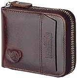 Admetus Men's Genuine Leather Short Zip-around Bifold Wallet (brown)