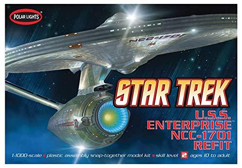 Polar Lights POL820/12 1/1000 Star Trek USS Enterprise NCC 1701-A refit Plastikmodellbausatz, Modelleisenbahnzubehör, Hobby, Modellbau, Mehrfarbig