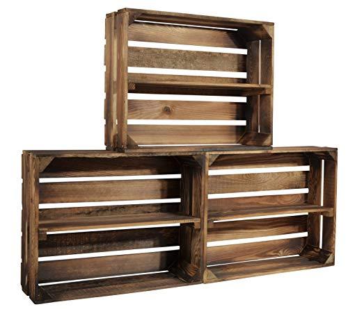 CHICCIE 3 Set Geflammte Holzkiste Schmalhanz - Mit langem Regal Gewürzregal Bücherregal Weinregal 50 x 40 x 15cm