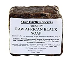 100% Natural Raw African Black Soap - Premium Product Origin: Ghana 1 Lbs. (907 grams) of Premium Raw African Black Soap Ingredients: Palm Kennel Oil, Coconut Oil, Stearin Oil, Cocoa Pod Husk, Unrefined Shea Butter, Plantain Skin Ash, Natural Vitamin...