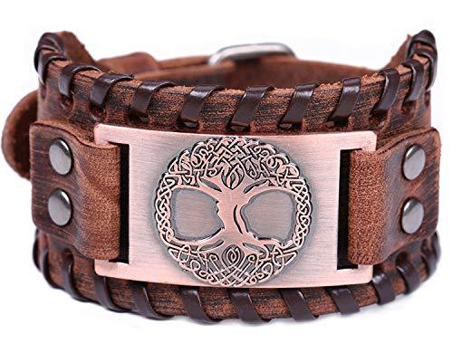 Vintage Amulett nordischen Viking Baum des Lebens Yggdrasil keltischen Knoten Metall braun Lederarmband für Männer (braunes Leder, antikes Kupfer)