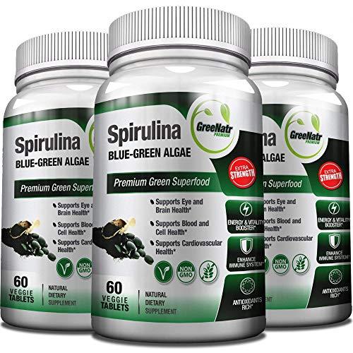 Spirulina Tablets – Blue Green Algae Pills - Veggie Formula/Non GMO/Gluten Free– See Spirulina Health Benefits at 1000mg Per Day – 90 Day Supply (3 Bottles)
