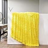 GONAAP Faux Fur Throw Blanket Decorative Super Soft Fuzzy Shaggy Luxurious Cozy Plush Fluffy Long Hair Comfy Microfiber Fleece Reversible for Coach Bed Chair Sofa (Yellow 50'X60')