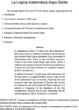 La Logica matematica dopo Gödel