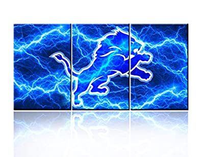 """Flashing Lightnings Pictures NFL Team Detroit Lions Paintings Prints on Canvas Red Wall Art Patrotic Sports Paintings Living Room House Decor Wooden Framed Gallery-Wrapped Ready to Hang(48""""WX24""""H)"""