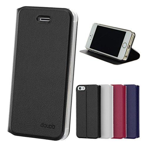 doupi Flip Case für iPhone SE / 5S / 5, Deluxe Schutz Hülle mit Magnetischem Verschluss Cover Klappbar Book Style Handyhülle Aufstellbar Ständer, schwarz