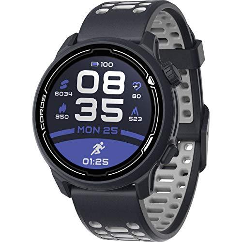 Orologio sportivo GPS COROS PACE 2 Premium con cinturino in nylon o silicone, cardiofrequenzimetro, batteria GPS completa per 30 ore, barometro (Silicone blu marino)