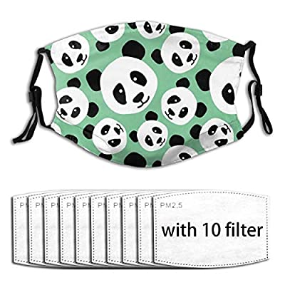 Playful Pandas Reusable Activated Carbon Filter Face Shield With 10 Filter Replaceable for Men Women