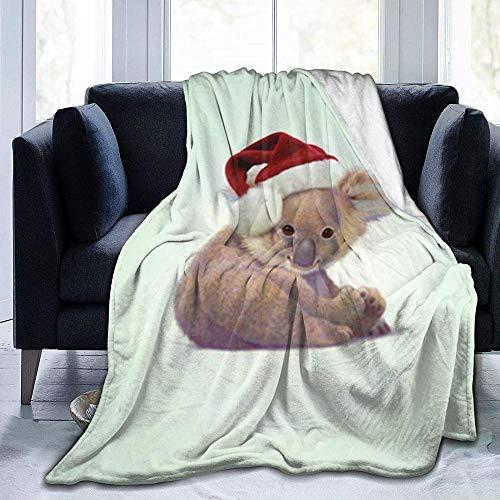 DWgatan Couverture,Couvre-lit de canapé Polyvalent Doux et Chaud de qualité Christmas Baby Koala Smile Printed Blanket for Bedroom Living Room Couch Bed Sofa -80\