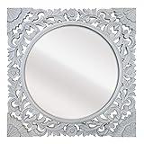 -Espejo Fabricado en España y Decorado a Mano- Medida Exterior 60x60 cm, Medida de Espejo 40x40 cm. Espejo Decorativo de Pared de Estilo Barroco. Modelo Zurbarán Blanco pátina Plata