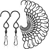 18 Stück Schwenken Haken Clips Wind Spinner S Haken Edelstahl Hängend Haken zum Aufhängen von Windspielen Windspinner Spiral Schwänze Windsäcke Vogelhäuschen Kristall Twisters Glocken, Schwarz