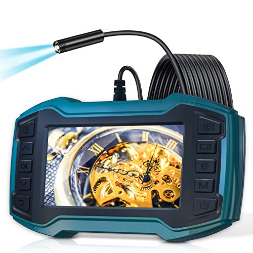 "Borescope Inspection Camera, LONOVE Industrial Endoscope Camera 1080P 4.5"" IPS Screen w/ IP67 Waterproof Snake Camera 6 LED Lights, Sewer Camera with Detachable Semi-Rigid Cable-16.5FT"