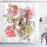ABAKUHAUS, R贸偶a, Zas艂ona prysznicowa, Przetarg Blossoms z r臋cznie rysowane Akwarele stylu czaszki meksyka艅skiego gotyku, Wielobarwno艣膰, 175cm x 180cm
