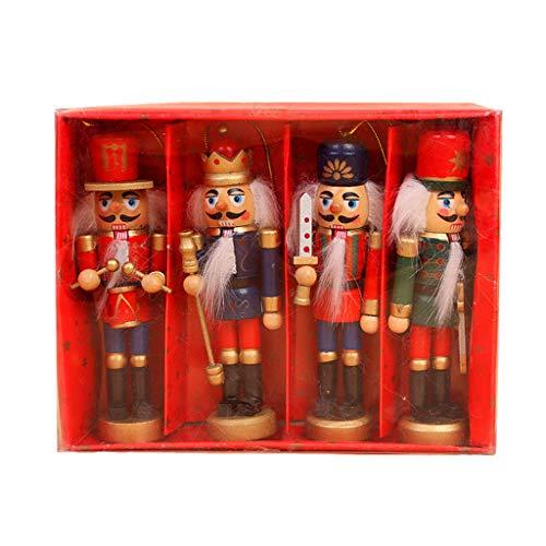 Eliky 4-delig/set houten notenkraker pop soldaat miniatuur figuren vintage handwerk pop Nieuwjaar Kerstmis ornamenten wooncultuur