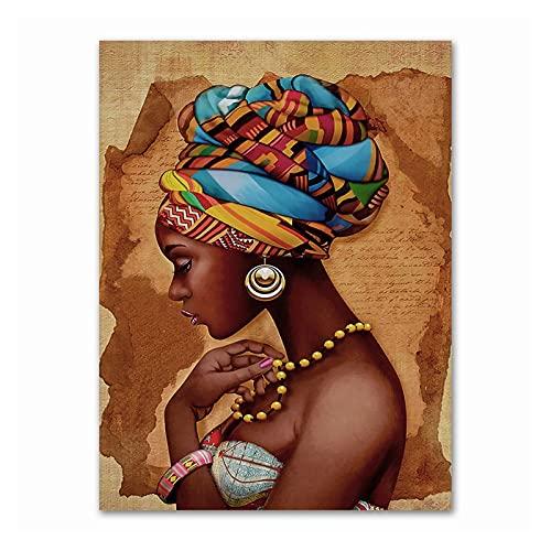 Kit de pintura por números para adultos y niños, kit de pintura por números de Son-Yellow Pendientes africanos (tamaño: 60 x 75 cm)