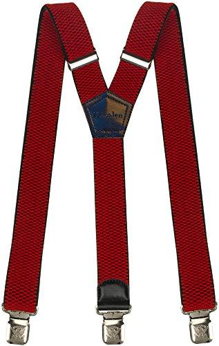 Decalen Bretelle Uomo Y Forma Molto Robusto Clip In Metallo, Larghezza 4 cm Di Lunghezza Regolabile Unica Misura Tutti (Rosso)