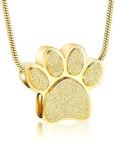GVRPV Feuerbestattung Schmuck Pfote drucken Urne Halskette für Asche Haustier/Hund/Katze Asche Halter Feuerbestattung Andenken Halskette Frauen Memorial Schmuck-Gold