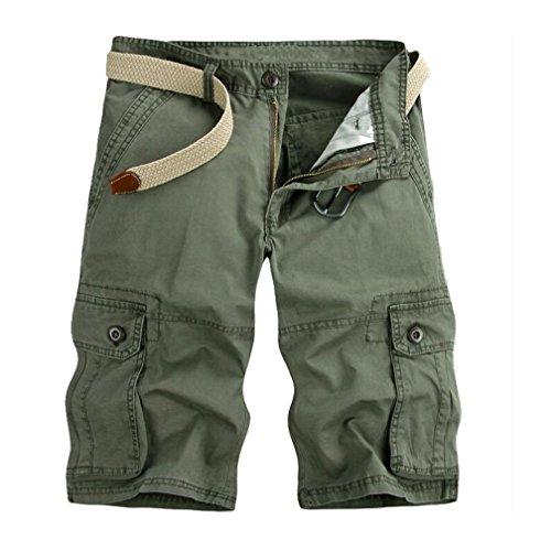 ZKOO Cargo Shorts Uomo Bermuda Pantaloni Corti Estivi Lunghezza al Ginocchio Pantaloncini con Tasconi Laterali Casuale Esercito Verde