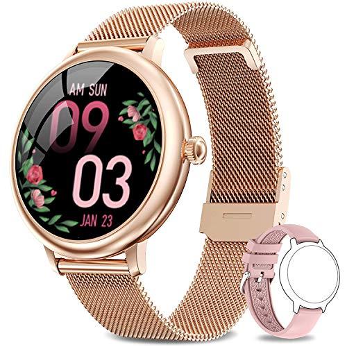 LIEBIG Smartwatch Mujer,Relojes Inteligentes IP67 con Ciclo Menstrual Femenino Pulsómetros Podómetro Cronómetros Monitor de Sueño Pulsera Actividad Inteligente para Android iOS (Dorado)