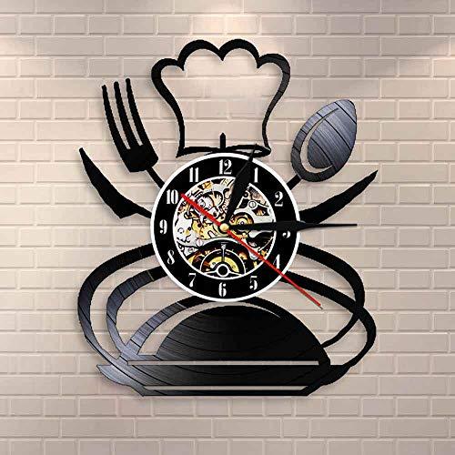 LBJZD wanduhr Retro Gabel Messer und Löffel Küche Wandkunst Wanduhr Besteck Design Esszimmer Wanddekoration Besteck Vinyl Schallplatte Wanduhr Mit LED-Licht