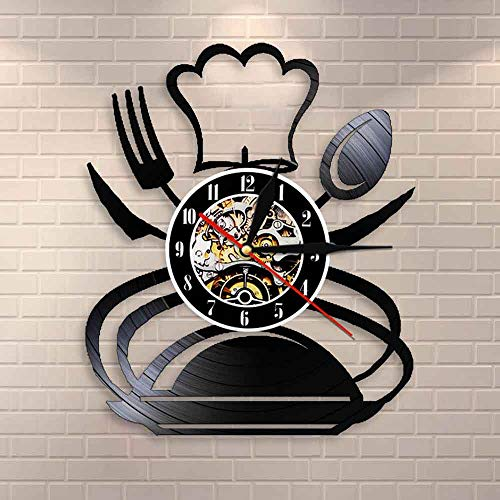 Gtllje Retro Tenedor Cuchillo y Cuchara Cocina Arte de la Pared Reloj de Pared diseño Restaurante Comedor decoración de la Pared vajilla Disco de Vinilo Reloj de Pared 30x30 cm
