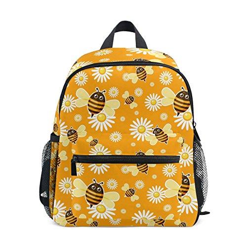 Jeansame Kids Rugzak Kinderen Schooltas Boek Tas voor Kleuterschool Peuter Jongens Meisjes Geel Leuke Honing Bijen Madeliefje Bloemen Bloemen