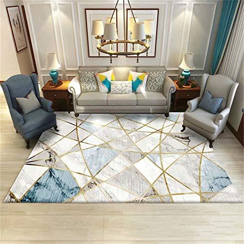 RUGMRZ Happy Decor Kids Teppich Blaugrauer geometrischer Marmormuster-schmutziger Schlafzimmerteppich Baby Teppich Anti-Rutsch Halls Teppichen blau 80X120CM