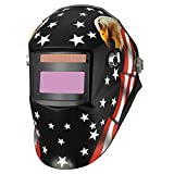 KOOLWOOM Solar Power Auto Darkening Welding Helmet MEGA designed with 2 Arc Sensors & Two Shade Ranges 5-8/9-13 with Grinding Feature Extra lens covers Good for TIG MIG MMA Plasma
