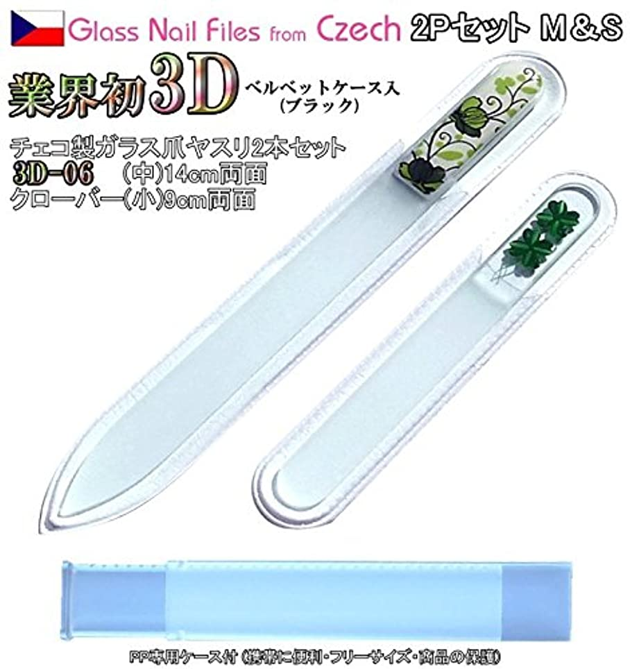 ワーム無力BISON 3D チェコ製ガラス爪ヤスリ 2Pセット M06&Sクローバー各両面仕上げ ?専用ケース付