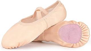 Soudittur Zapatillas de Ballet Satén -Media Punta Calzado de Danza para Niña y Mujer Adultos Suela Partida de Cuero Tallas...