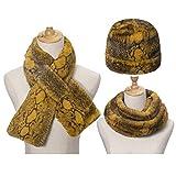 TEBI Juego de 3 gorros unisex de piel de serpiente con bufanda, de felpa, resistente al viento