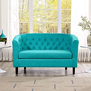 Modway Prospect Upholstered Contemporary Modern Loveseat In Pure Water