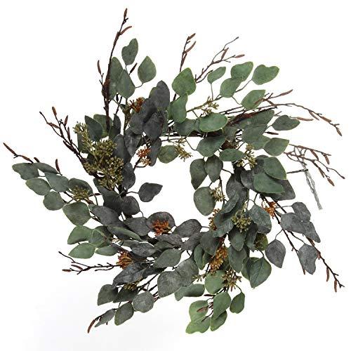 Larksilk 18' Green Eucalyptus Wreath, 18-Inch Sage Eucalyptus Wreath, Detailed Eucalyptus Leaf, 14 Decorative Branches, Home, Door, Event, & Window Dècor