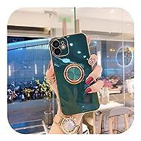 for iPhone 11 7 8Plusゴールドメッキメタルスタンドfor iPhone 12 Pro Max XS XR SE2020シリコン用の高級リングホルダーケース-T1-for iPhone 12Pro Max