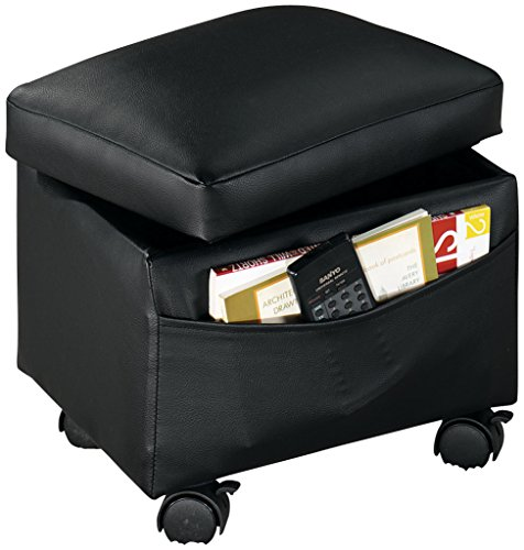 "Flip Top Small Storage Ottoman, 13"" L x 10"" W x 12"" H – Side Pocket Stores Magazines, Books & Remote Control – 4 Plastic Casters Lock in Place, Vinyl Covering Easily Wipes Clean"