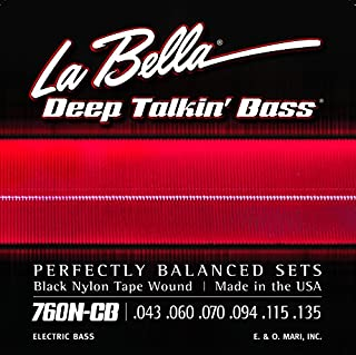 La Bella 760N Black Nylon Tapewound Bass Strings - Standard 6-String