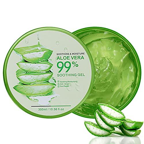 300ml Aloe Vera Gel, Gel d'Aloe Vera Bio, Crème Hydratante Naturelle, Gel Hydratant, Crème naturelle d'aloe vera pour Soins pour les Coups de Soleil, Réparer les Cicatrices, Apaisant