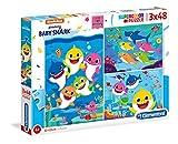 Clementoni - 25261 - Supercolor Puzzle - Baby Shark - 3 puzzle da 48 pezzi - Made in Italy - puzzle bambini 4 anni +