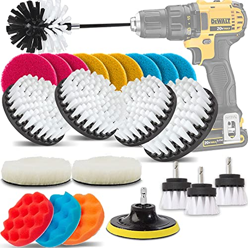 GOH DODD Drill Brush and Buffing Sponge Pads, 25 Pieces Power Scrubber Soft White Car Wash Kit Spin Brush Wheel Carpet Interior Detail Brush with Long Reach Attachment in Box for Auto Boat Motorcycle