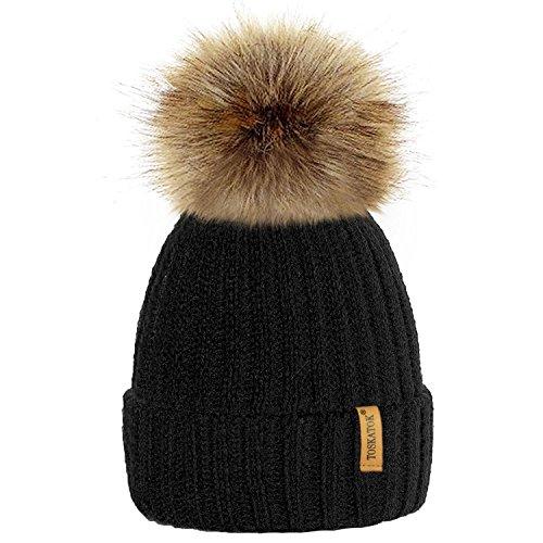 TOSKATOK Hattricks von PARIELLA TM Womens Winter-Rib Strickmütze/Beanie mit abnehmbaren Chunky Faux Fur Bobble Pom Pom - in 5 Farben erhältlich-Black
