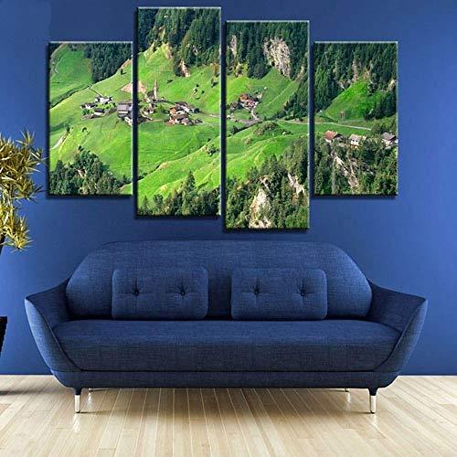 ANTAIBM® Kinderzimmer Schlafzimmer dekorative 4 Malerei Holzrahmen - verschiedene Größen - verschiedene Stile4 Stück See und Dolomiten Naturlandschaften in Italien Leinwand Stoff Poster Wandkunst Raum