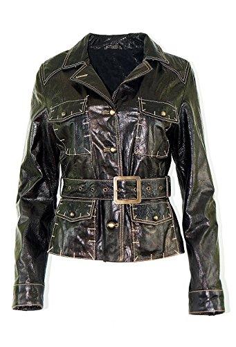 DX Elegant Damen Lederjacke, blazer dunkelbraun , echt LEder KKLD-0002 (S)