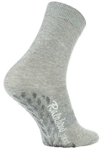 Rainbow Socks - Damen Herren Bunte Baumwolle Antirutsch Socken ABS - 1 Par - Grau - Größen 39-41