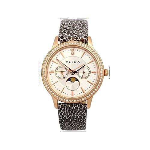 Reloj Para mujeres E088-L333-K1 Elixa con la pulsera de acero CASO DE LA PIEL, de color dorado VENDIDO CON GARANTÍA Y 'REGALO BOLSA